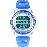 Socico Niños Digital Relojes para Niños Deportes–5 ATM Reloj Deportivo Impermeable al Aire Libre con Alarma Cronómetro,Relojes de Pulsera Electrónicos para Niños. (Azul Claro)