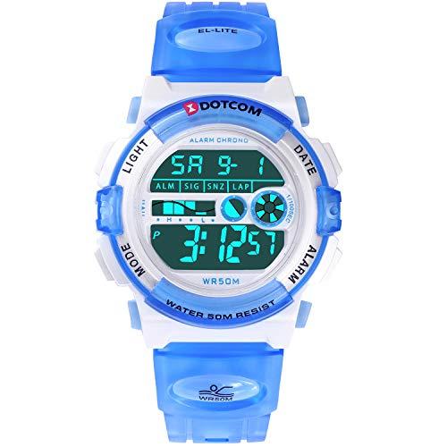 SOCICO Kinder Digital Quarzwerk Uhren mit Gummi Band (S-Hellblau)