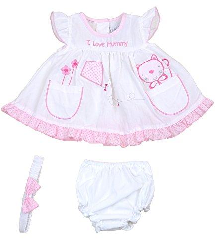 BabyPrem Babykleidung Kleidchen Kopfband & Höschen Set Mädchen 62-68cm Katze weiß 3-6 - Ich Höschen Liebe