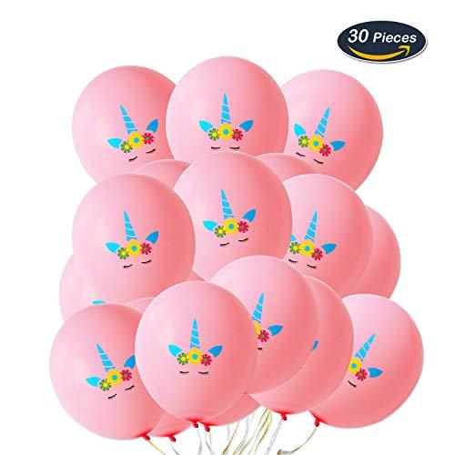 AMZTM 30 Stück Einhorn Rosa Luftballons Regenbogen Einhorn-Themenparty Begünstigt Dekorationen für Nette Fantasie-feenhafte Mädchen Baby Dusche Geburtstags-Party-Hochzeits-Versorgungsmaterialien (12 Zoll)