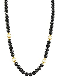 KMD Black & Golden Black Pearl Studded Necklace