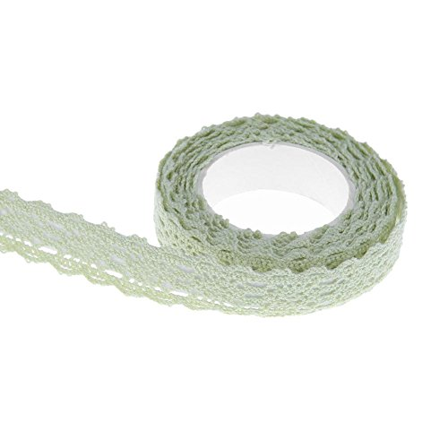 demiawaking selbstklebend Lace Washi Tape Trim Ribbon Dekorative Sticky Baumwolle Stoff Klebeband DIY Craft Decor grün -