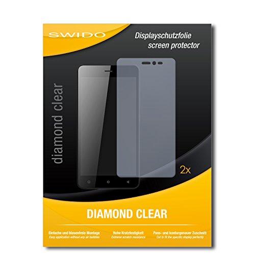 SWIDO 2 x Bildschirmschutzfolie Gionee Pioneer P5W Schutzfolie Folie DiamondClear unsichtbar