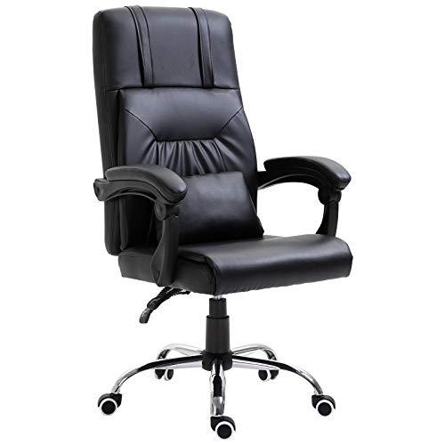 Vinsetto sedia poltrona da scrivania e lavoro in ecopelle spessa imbottitura nera reclinabile fino 135° con cuscino rimovibile e massaggiante interfaccia usb