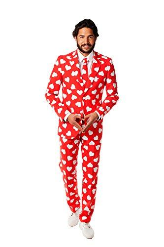 Mr Lover Lover Anzug rot weiss Herzchen Slimline Herren 3-teilig Premium Gr 60
