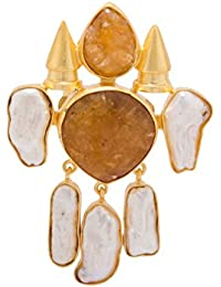 Voylla Brown-White Stone Decked Golden Statement Ring Jewelry Gift for Her, Girl, Women, Mother, Sister, Girlfriend, Party Wear, Daily Wear