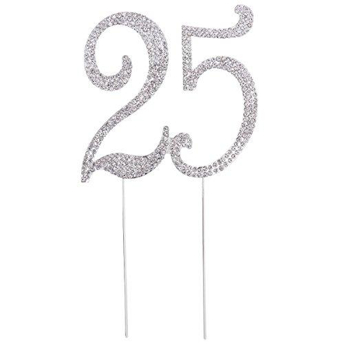 NUOBESTY 25ª Fiesta de cumpleaños con Purpurina y Diamantes de imitación con Forma de Torta pastelería 25 años Aniversario de Boda Alimentos decoración Suministros (Plata)