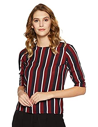 KRAVE Women's Striped Regular Fit Top (AW18KRAVE1131_Wine/Navy_S)