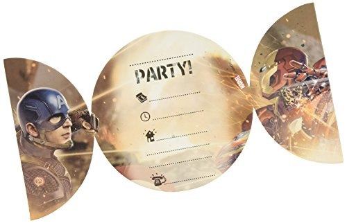 (Unique Party Supplies Party-Einladungen im Captain America Design (First Avenger: Civil War), 6 Stück)