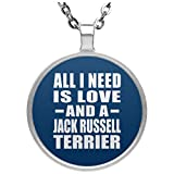 All I Need Is Love And A Jack Russell Terrier - Circle Necklace Royal / One Size, Pendentif Charme Plaqué Argent avec Collier, Cadeau pour Anniversaire, Noël