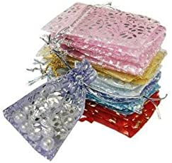 GoldGiftIdeas Organza Jewellery Pouches (12X10cm, Multicolour) - Pack of 100