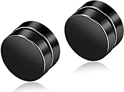 Amour Round Magnetic No piercing Stainless steel Unisex stud Earrings