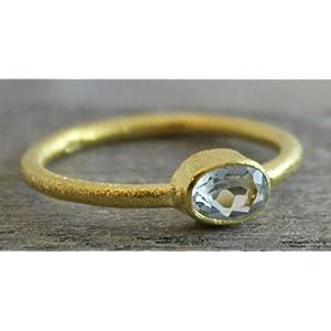 Petite Oval blauer Topas vergoldet Sterling Silber Ring