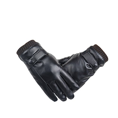 WinCret Herren Touchscreen Lederhandschuhe - Winter Handschuhe mit Wasserdicht Gefüttert und Warme Korallen-Samtfutter