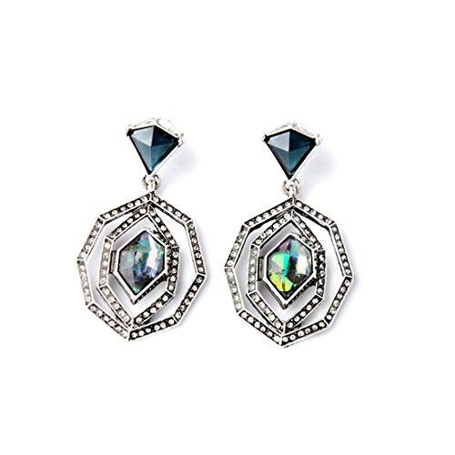 Lares Domi Vintage Argento Cristallo Incrusted simulato opale classico stile Art Deco orecchini pendenti