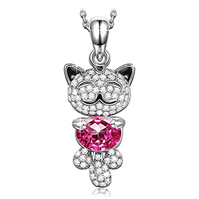 """Pauline & Morgen """"Lucky Cat"""" Pink SWAROVSKI ELEMENTS Crystal White Gold Plated Women Necklace"""