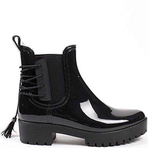Ideal Shoes–Scarponcini di pioggia Chelsea con frange e suola crantrée Donie Nero