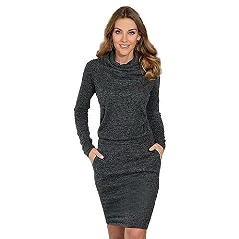 irina Mode Femmes Robe de cocktail d'affaires Mini robe mince à manches courtes au crayon (S, Noir)