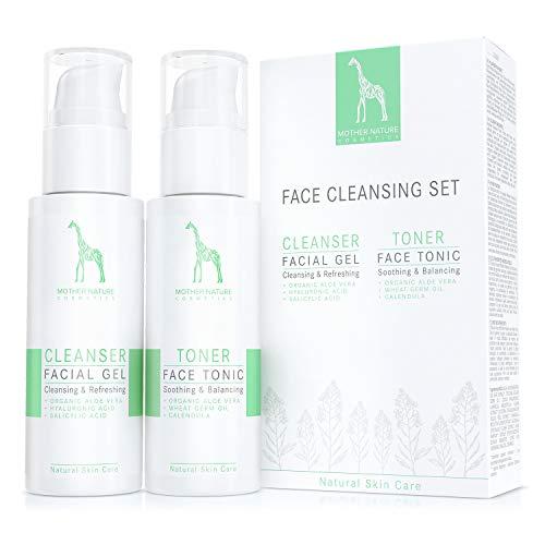 Gesichtsreinigungs-Set mit Bio-Aloe Vera und Hyaluronsäure - NATURKOSMETIK VEGAN - 2 x 125 ml by Mother Nature Cosmetics - Waschgel und Gesichtswasser für normale Haut, Mischhaut und unreine Haut -