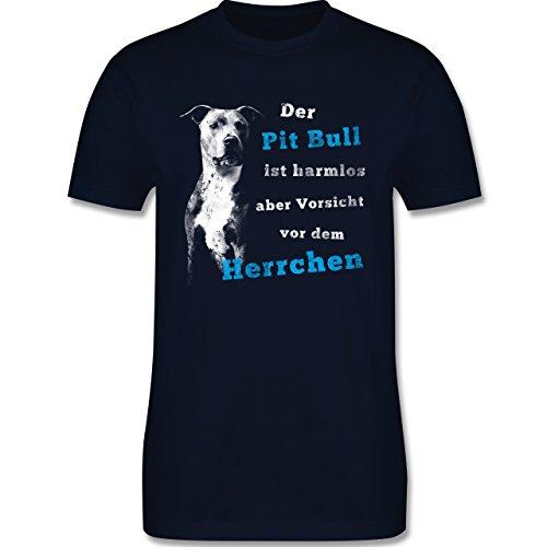 Shirtracer Hunde - der Pit Bull ist Harmlos aber Vorsicht vor dem Herrchen - Herren T-Shirt Rundhals Navy Blau