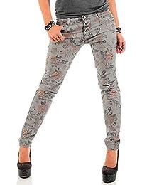 Sublevel Damen Slim Leg Jeans LSL-264 Flower-Print