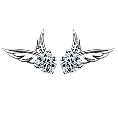 Sterling Silber Engel Flügel mit Cubic Zirkonia Damen Mädchen Ohrstecker