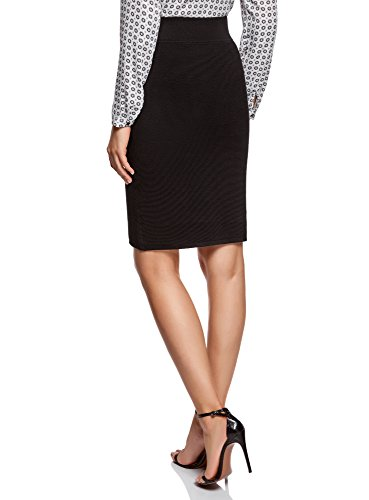 oodji Collection Donna Gonna Basic Lavorata a Coste Nero (2900N)