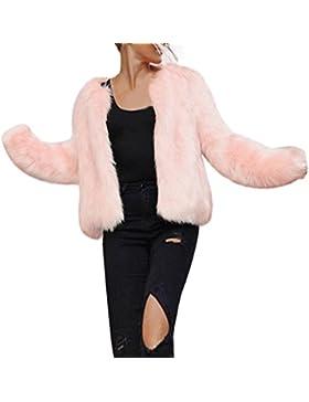 KOLY Chaqueta abrigo rosa mujer,Moda Las nuevas Mujer invierno caliente manga larga Piel de imitación abrigos...