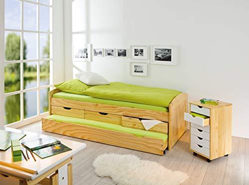 Inter Link Bett Bett mit Schubladen Stauraumbett Kinderbett Funktionsbett Einzelbett nachhaltigeres Massivholz Natur lackiert