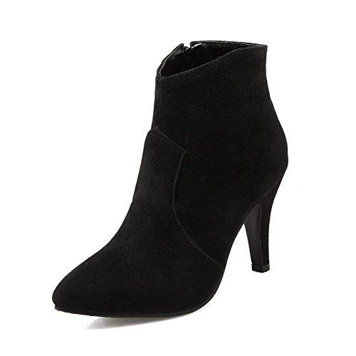 AllhqFashion Damen Blend-Materialien Hoher Absatz Schließen Zehe Stiefel Schwarz-Reißverschluss