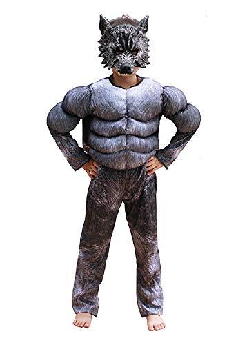 - 6-7 Jahre - Superheld Kostüm und Maske - Muskulöser Busen - Werwolf für Kinder verkleiden Karneval Halloween Cosplay Zubehör ()