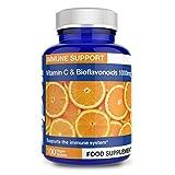 Vitamina C 1000mg con Bioflavonoidi, 100 Compresse vegane. Supporta sistema immunitario. Aumenta l'energia e la vitalità.