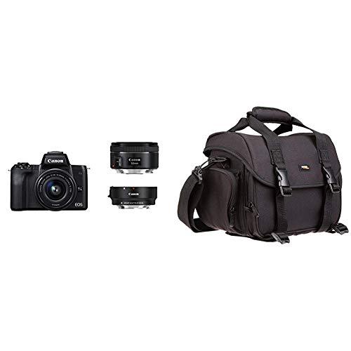 Canon EOS M50 schwarz EF-M 15-45 + EF Adapter + EF 50 1.8 Kit & AmazonBasics - Große L Umhängetasche für SLR-Kamera und Zubehör, schwarz mit orange Innenausstattung -