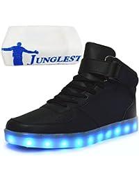 (Presente:peque?a toalla)Dorado EU 46, Light plata LED Hombres Zapatos moda Up de JUNGLEST