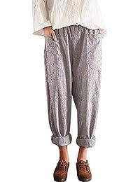 SOMESUN Pantaloni Lunghi Harem Di Lino In Cotone a Righe Larghi Vita Alta  Da Donna Casual Pantaloni Estivi Taglie Forti Eleganti Leggeri… 2e39ad6db99