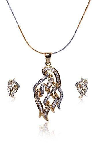 Sempre Londra Due Tono Placcato Oro Giallo 18ct baguette Royal Designer con pendente Design orecchini in cristallo CZ Diamanti per le