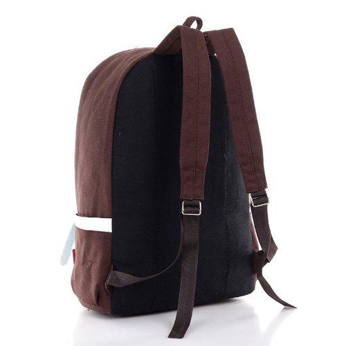 Tempo libero in tela borsa a tracolla doppia spalla nello zaino, nero Black