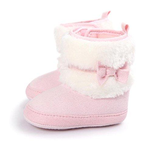 Baby Bowknot Warm halten Kleinkind Stiefel,URSING Weiche Sohle Schneestiefel Soft Crib Schuhe (11, Rosa)