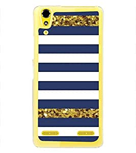 Blue and White Line Pattern 2D Hard Polycarbonate Designer Back Case Cover for Lenovo A6000 Plus :: Lenovo A6000+ :: Lenovo A6000