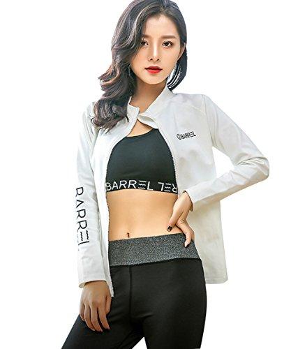 Donna Yoga Fitness Palestra Abbigliamento sportivo 3 pezzi Set da Allenamento Jogging Bianca