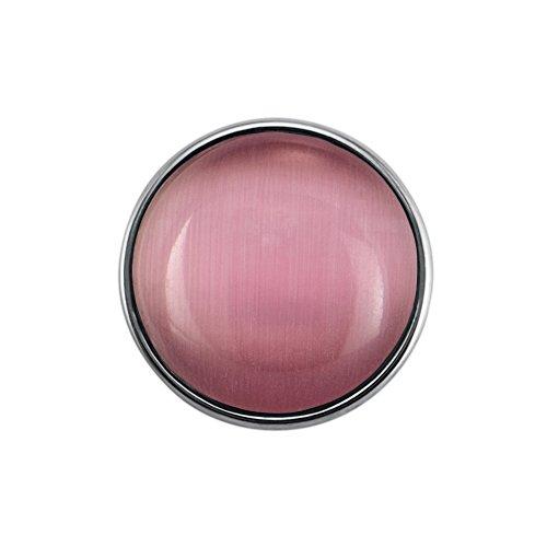 Quiges Damen Mini Click Button 12mm Hellrosa Cat Eye