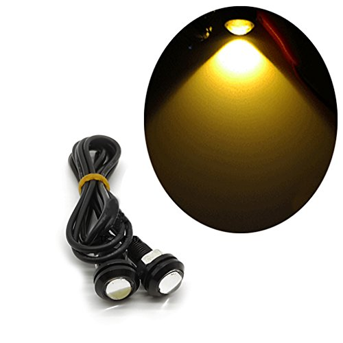 QHGstore 2ST Ultradünnes 18MM 9W Eagle Eye LED Auto DRL Tagfahrlicht Schwarze Schale gelb (Led Eagle Eye Gelb)
