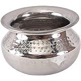 IndianArtVilla Steel Serving Punjabi Handi|Hammered Design|Serving Dishes Vegetables|Volume 1000 ML