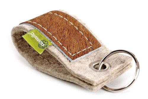ALMWILD® Schlüsselanhänger, Schlüsselband aus echtem Kuhfell und Filz vom Merino-Schaf. Mit Schlüsselring. Schlüsselband Ideal für Haus, Auto, Geschenk