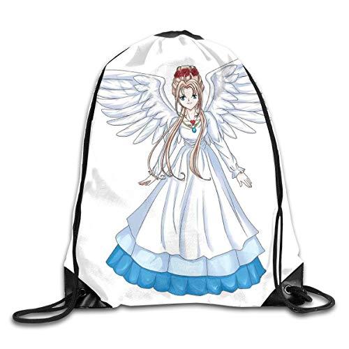New Shorts Cartoon Illustration of Cute Angel Wings and Flowers Fairytale Japanese Manga Print Drawstring Backpack Rucksack Shoulder Bags Sport Gym Bag for Men and Women (Angel Wing Rucksack)