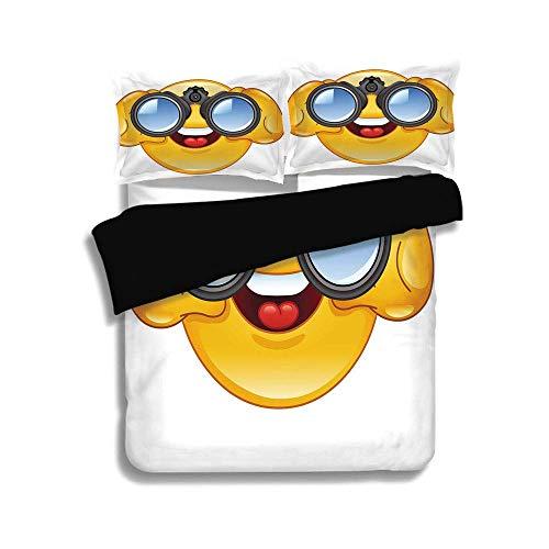 LIS HOME Schwarzer Bettbezug-Set, Emoji, Smiley-Gesicht mit einem Teleskop-Fernglas Brille beobachten außerhalb Cartoon Print, gelb und blau, dekorative 3-TLG. Bettwäsche-Set von 2 Pillow Shams