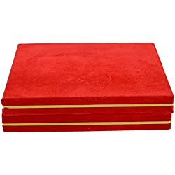 Jewellery Box for Women - Jewellery Box for Earring Necklace - Velvet Finished In Red & Gold Colour !!