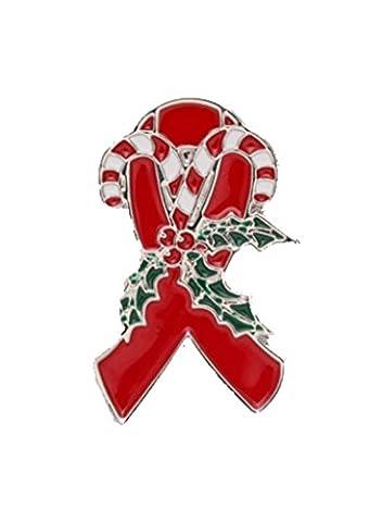 NEW Christmas Red Ribbon Charity Ribbon Awareness Brooch Pin HIV