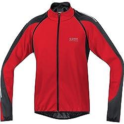 Gore BIKE WEAR, Chaqueta 3 en 1 para Ciclista de Carretera, Hombre, WINDSTOPPER® Soft Shell, PHANTOM 2.0, Talla M, rojo/negro, JWPHAM359904