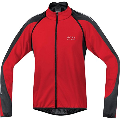 GORE BIKE WEAR-Hombre - Chaqueta de ciclismo Phantom 2.0 Windstopper Soft Shell, color rojo / negro, talla L
